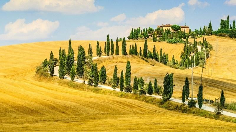 осенний тосканский пейзаж