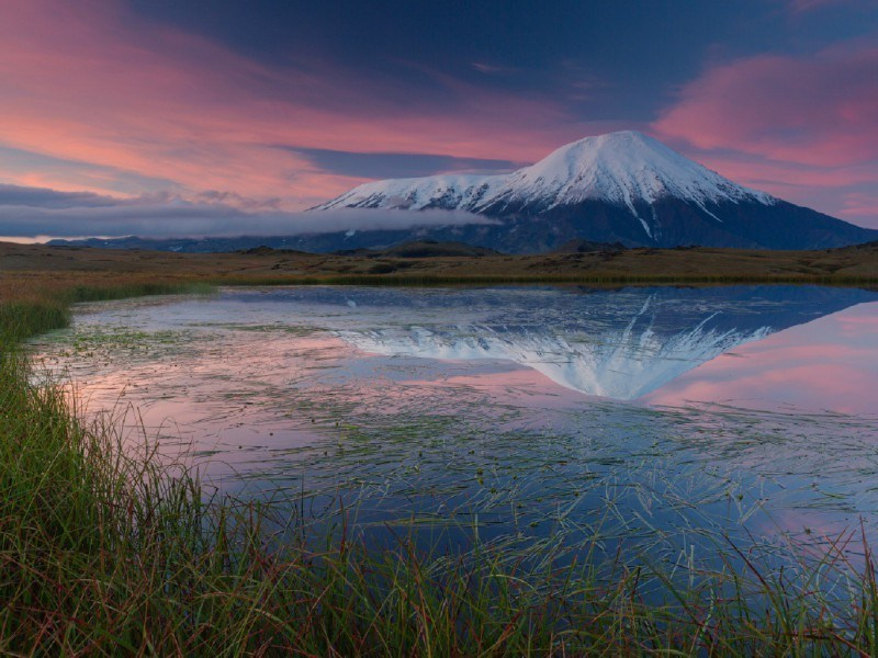 вулкан Тобачик на рассвете, Камчатка
