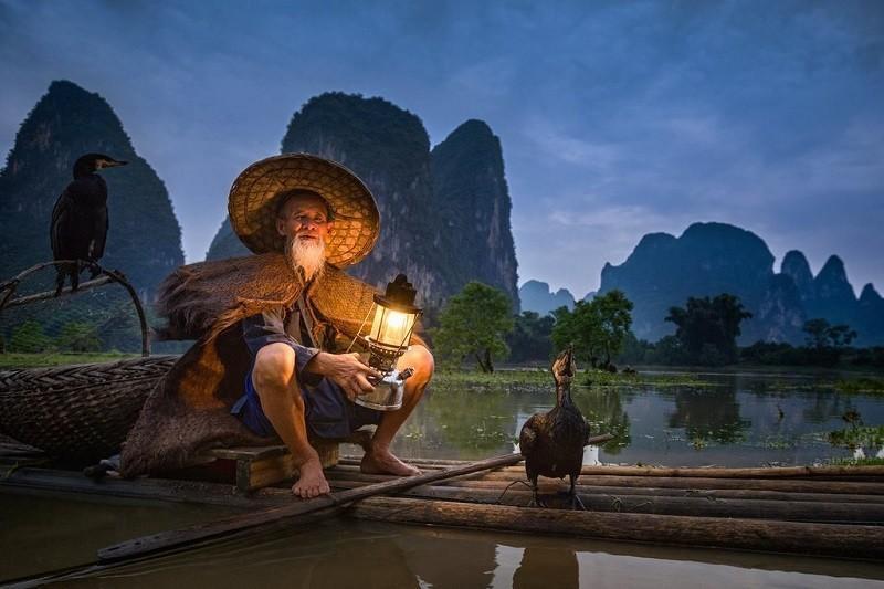 рыбалка с бакланами на реке Ли